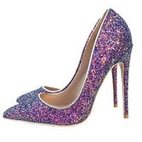 Keshangjia Women 12cm Thin High Heels Pumps Shine Sexy Shiny Leather Pointed Toe Scarpins Stiletto Female Purple Bling
