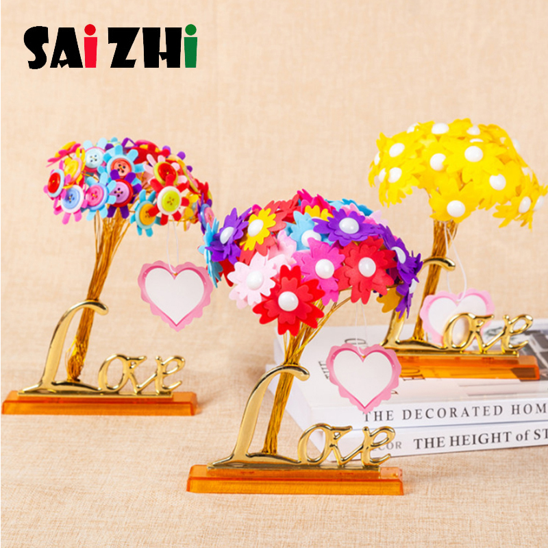 Saizhi Creative Colorful Button Design Bouquet Kids DIY Handcraft Flower Toy Educational Buttons Threading Handmade Flowers Toy