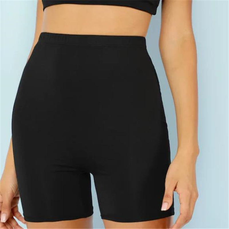 Sexy Women Stretch Biker Shorts Workout Leggings Neon Orange Black Athletic Workout Fitness Breathable Jogger High Waist Shorts