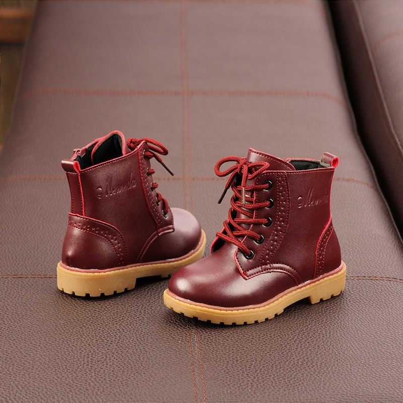 Çocuk Martin Çizmeler Sonbahar Kış Hakiki Deri Moda İngiliz Tarzı Düz Renk çocuk çizmeleri Kızlar deri ayakkabı SMM019