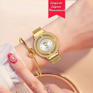 Image 5 - Часы MISSFOX женские, полые золотистые модные наручные, с миланским сетчатым браслетом, с бриллиантами, для мужчин и женщин