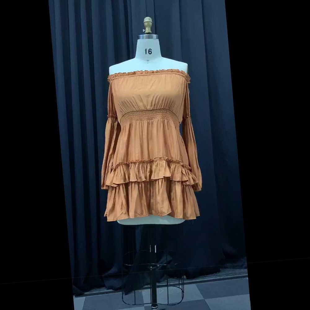 Оранжевого размера плюс вечерние элегантные винтажные женские мини-платья с открытыми плечами высокой талией Falbala простые женские платья в африканском стиле с оборками