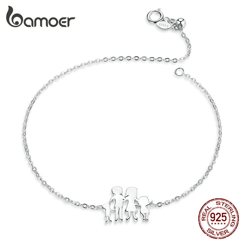 bamoer Silver 925 Jewelry Love Four Family Chain Bracelet for Women 925 Sterling Silver Fine Jewelry Festival Gifts SCB164