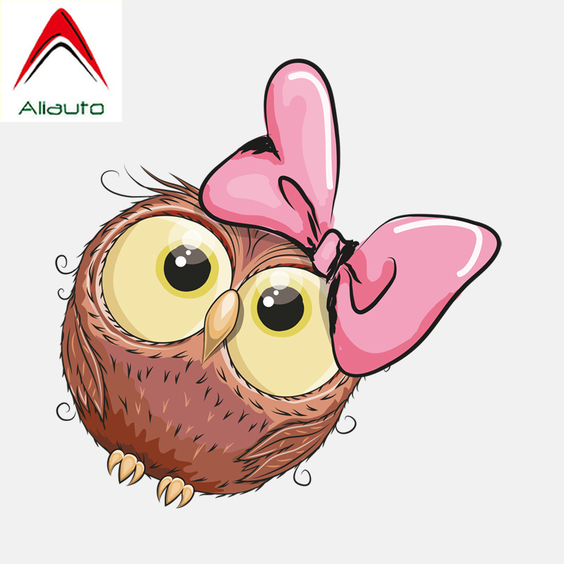Aliauto Lovely Car Stickers Cute Pink Bow Owl Girl Decoration Vinyl Decal for Mazda Cx 5 <font><b>Gti</b></font> Vw Golf 5 <font><b>Peugeot</b></font> <font><b>208</b></font>,12cm*12cm image