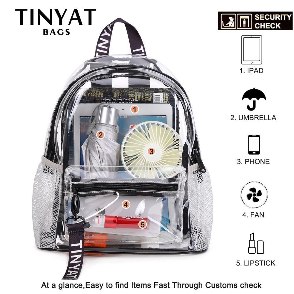 TINYAT Clear PVC Women Backpack Transparent Swim Backpack Solid Travel School Backpack Bag For Teenage Girls Mochila Children