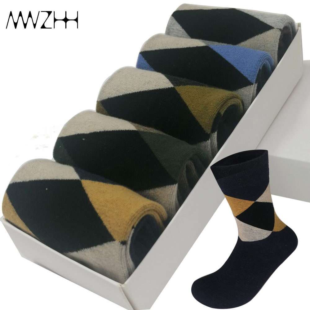 5 Pairs/Lot High Quality Men's Cotton Socks Soft Business Diamond  Men Socks New Breathable Autumn Winter  Warm Socks 2019 New
