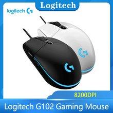 Logitech G102 Gaming Mouse fare optik mekanik oyunu fare desteği masaüstü dizüstü USB ev ofis win8 10 PUBG LOL MOMA