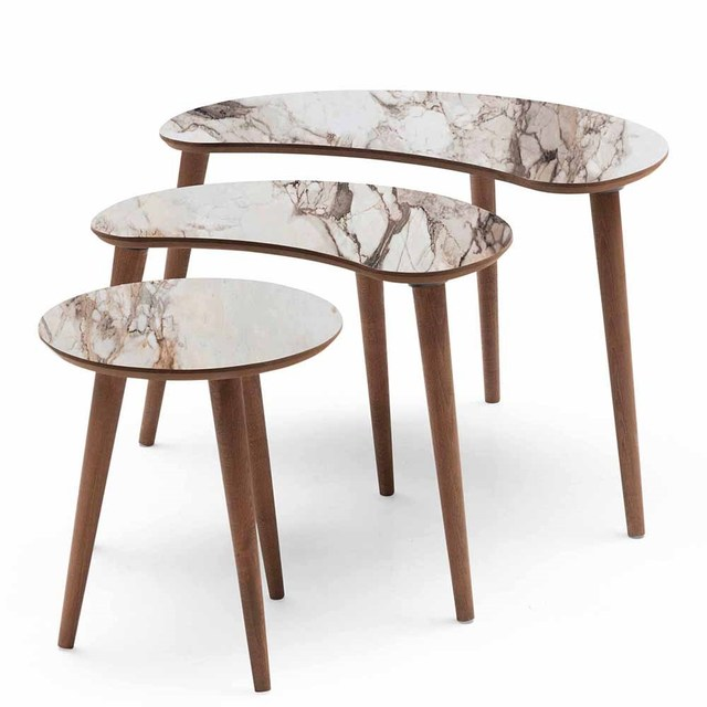 3 PCs Crescent Shaped Coffee Table  2