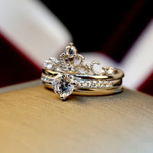 Luxury Female Queen Crown Ring Set Vintage Silver Rose Gold Adjustable Wedding Ring Promise Love Engagement Rings For Women(China)