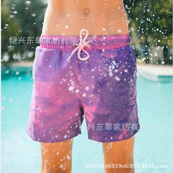 Europe and America Water Color Changing Beach Shorts Swimming Trunks Children Multi-Code Quick-Drying Temperature Color Changing