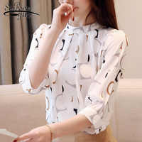 Blusas mujer de moda 2019 koreanische mode kleidung frauen tops blusen shirts damen tops Chiffon-bluse weißes hemd 2480 50