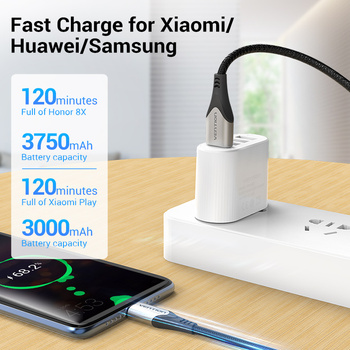 Vention Micro USB Cable 3A  Nylon Fast Charger USB Type C Data Cable for Samsung Xiaomi LG Android Micro USB Mobile Phone Cables 2