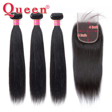 Queen Hair Products Brazilian Straight Weave Bundles With Closure Remy Human