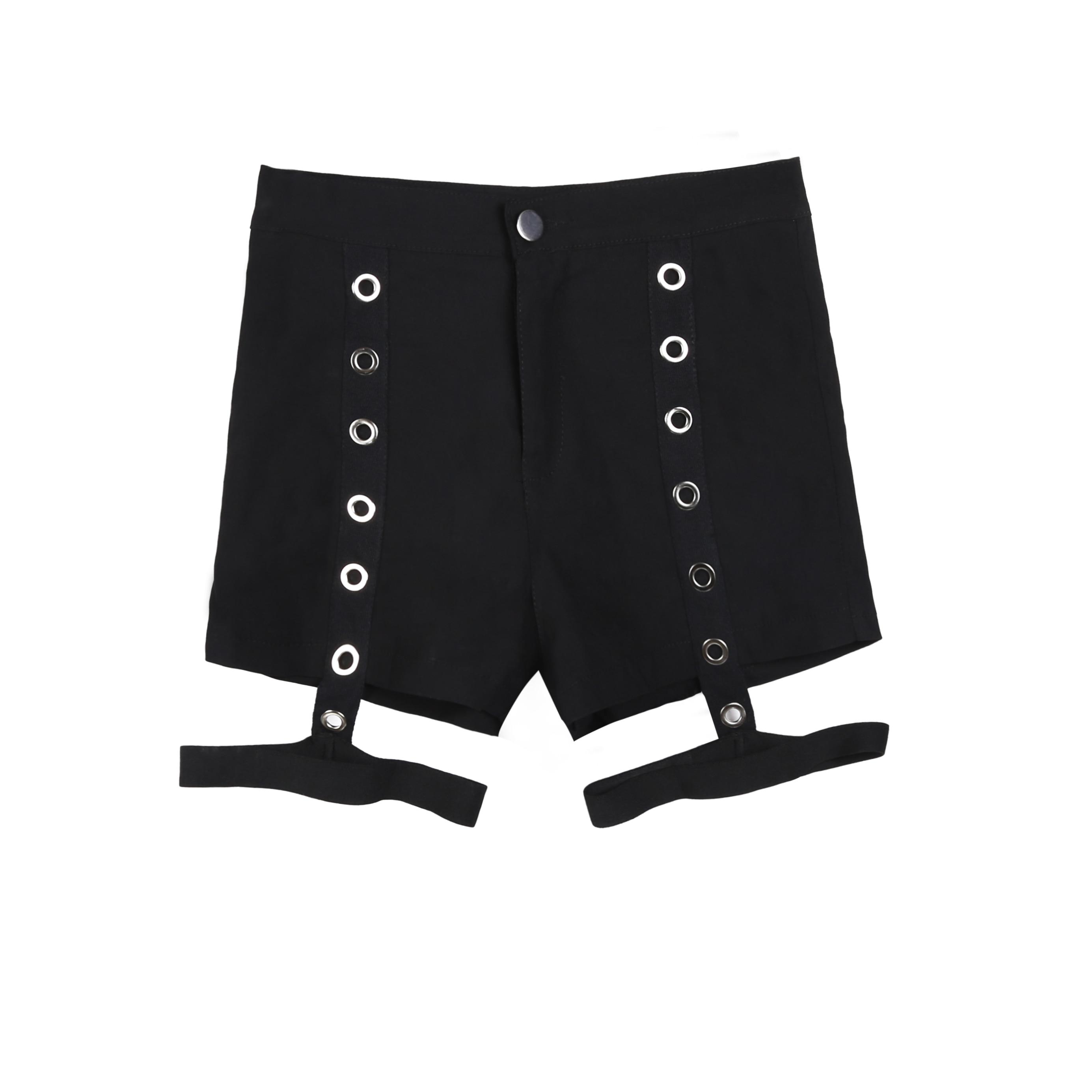 AIYANGA Punk Women Shorts 2020 Girls Harajuku Ring Cross High Waist Fashion Short Pants Summer Female Skinny Sexy Shorts