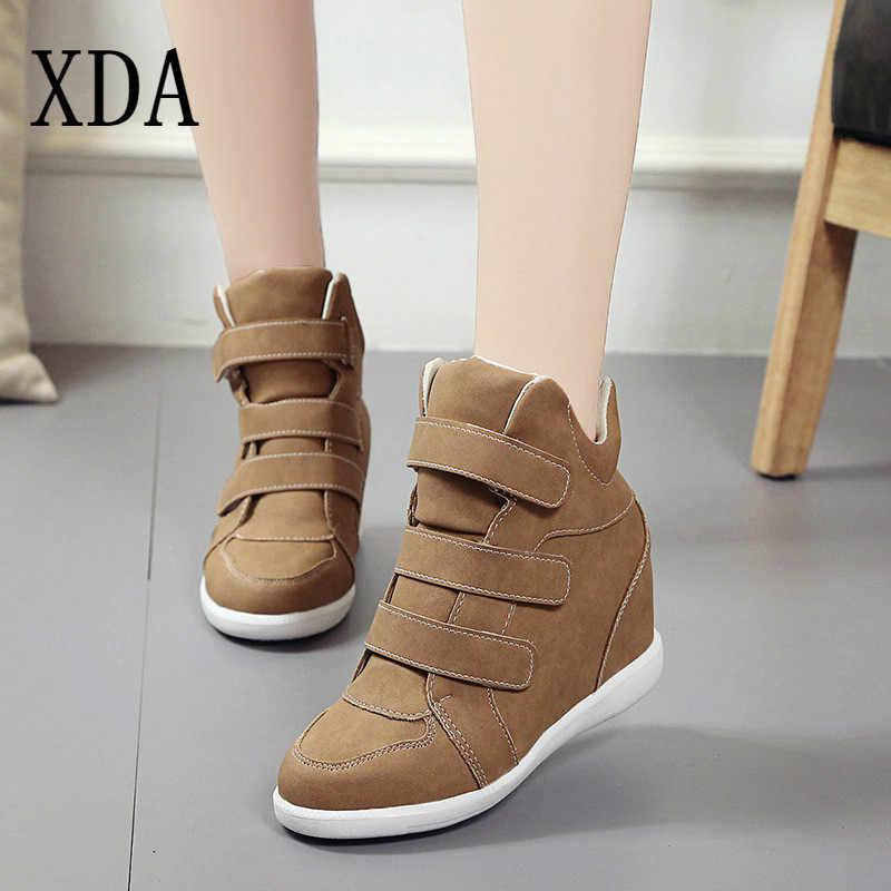 concepto Dentro Construir sobre  XDA zapatos de plataforma con cuña oculta para mujer, zapatillas cómodas  informales aterciopeladas, botas Martin, B184|Botas hasta el tobillo| -  AliExpress