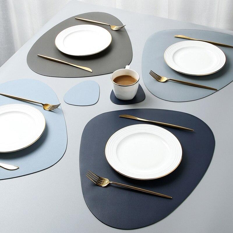 Tischset Tischset Geschirr Pad PU Leder Wasserdichte Wärmedämmung Nicht-Slip Tischset Weichen Schwarz Braun Waschbar Schüssel Bahn