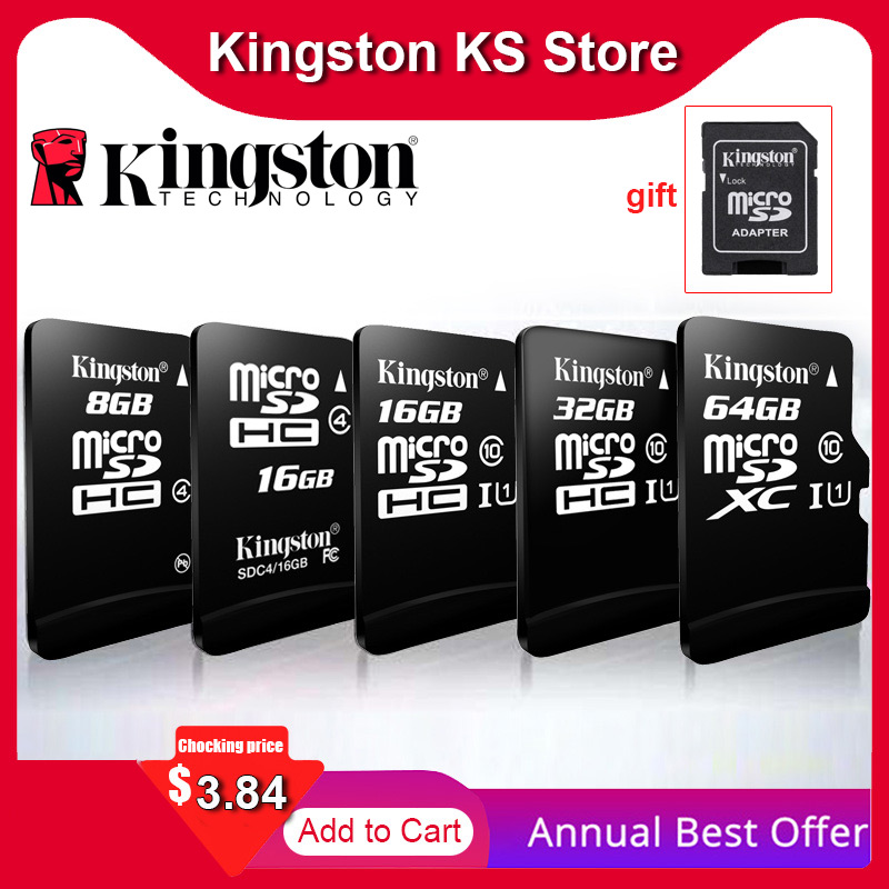 100% Original Kingston <font><b>micro</b></font> <font><b>sd</b></font> 128gb 64gb speicher karte 16 cartao de memoria sdhc <font><b>32gb</b></font> klasse 10 cartes mit Adapter Dropshipping image