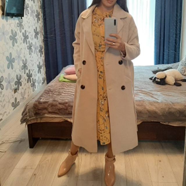 Winter Beige Elegant Wool Coat Women Korean Fashion Black Long Coats Vintage Minimalist Woolen Overcoat Camel Oversize Outwear 6