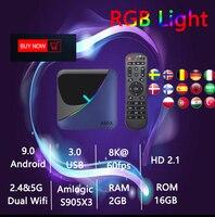 Arabic 1PTV A95X F3 TV Box Android 9.0 TV Box lifetime free forever 4G+64G 4K Netflix Youtube Africa/Swedish RGB Light 1PTV Box
