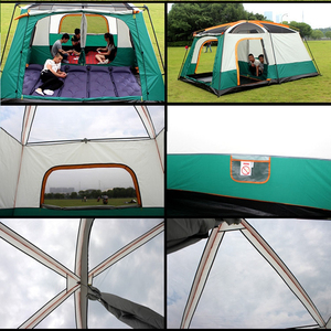 Image 4 - camping tent Two story outdoor 2 living rooms and 1 hall high quality family camping tent large space tent 8/10 Outdoor camping