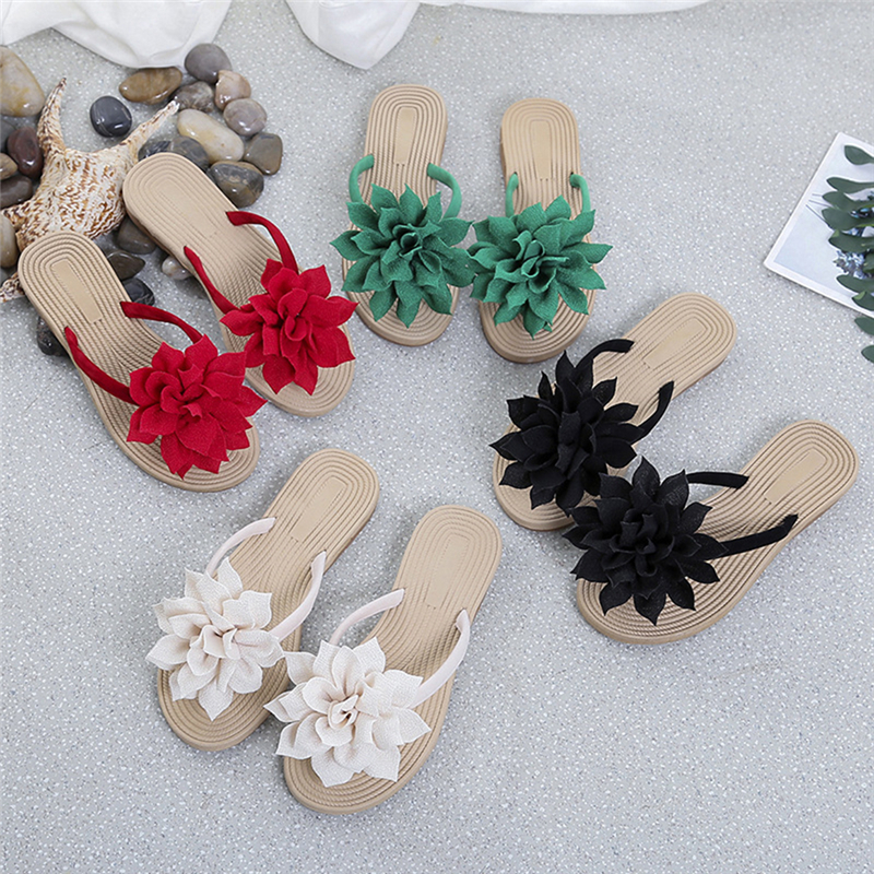 Women Flip Flops Casual Flower Slippers Ladies Slip On Flat Shoes Female Fashion Non Slip Slides Beach Sandals New