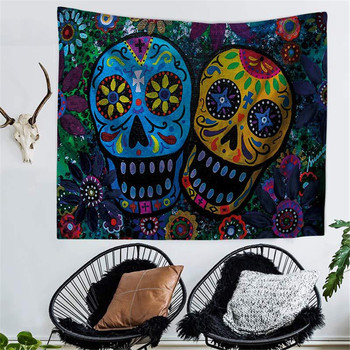 Psychedelic Gothic Skull Tapestry Romantic Flower Death Art Painting Wall Hanging Decorative Print Picture Tapiz Blanket