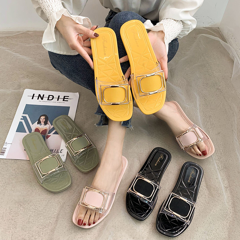 Summer Flat Slides Sandals  Women Casual Slippers Flip Flops Beach Home Slippers Anti Skid Female Bath Slippers TUX82