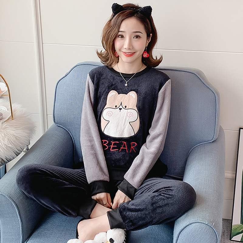 Autumn Winter Flannel Cartoon Cute Pajamas Long Sleeve Pyjamas Women Pijama Mujer Loungewear Home Clothes Sleep Set Nightwear 33