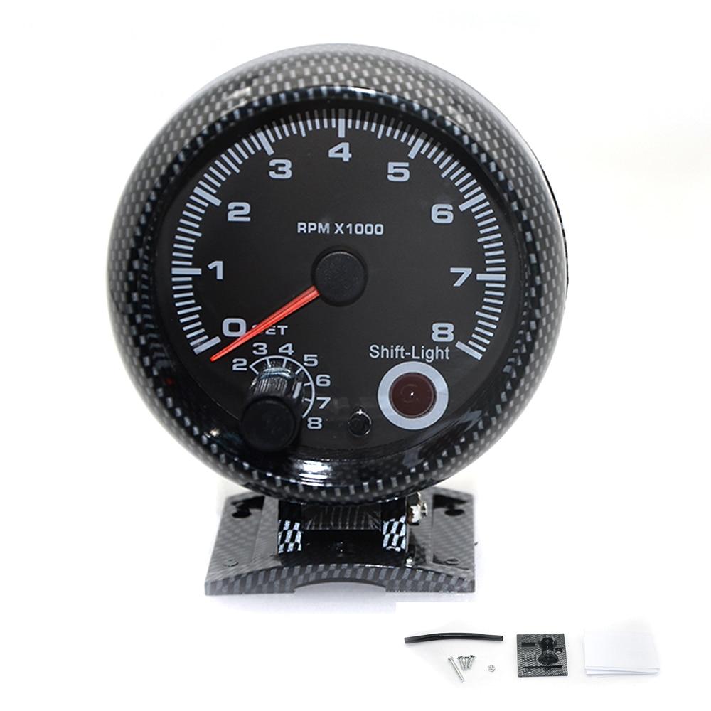 """DepoTuning 3,7"""" 95 мм карбоновый Электрический Тахометр измеритель об/мин с 7 светодиодными цветами внутреннего переключения света 4 6 8 цилиндров"""