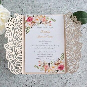 Rose leaf laser cut wedding invitation card rural invite 100pcs