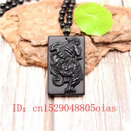 Natural Black Obsidian Dragon Tiger Pendant Beads Necklace Fashion Charm Jewellery Carved Pixiu Amulet Gifts For Women Men