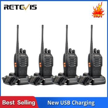 Walkie Talkie 4 Uds Retevis H777 H-777 3W UHF 400-470MHz práctica estación de Radio de dos vías de carga USB walkie-talkies comunicador