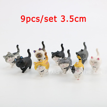 9pcs/set Animal Cat PVC Figure Toy Japan Anime Lovely Bells Cat Kawaii Collectible Model Toys Kids Gifts Decoration Figure Cat 100% original bandai gashapon pvc toy figure 05 full set of 5 pcs from japan anime kamen rider