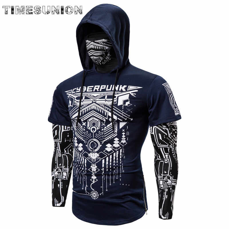 Mens Skull Masker Hoodies Sweatshirt Nep Twee Stukken Mannen Punk Jogging Homme Trui Elastische Streetwear Hoodie Japan Ninja Pak