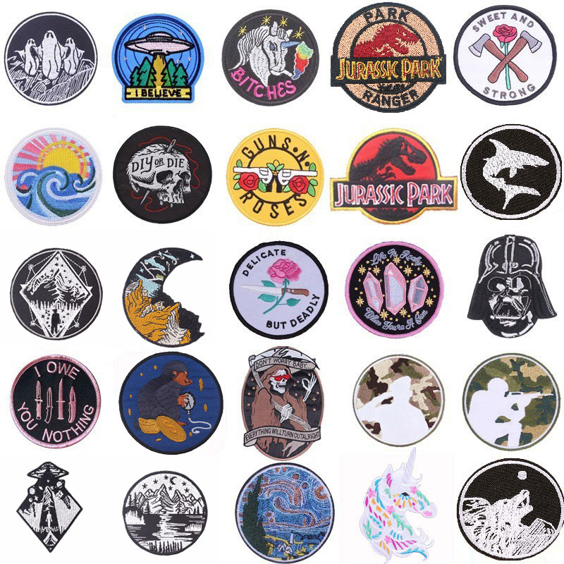 Pulaqi Alien Universe Punk Patch for Clothing Death Skull E.T. Star Wars Patches Iron On Clothes Embroidery Applique Accessory H