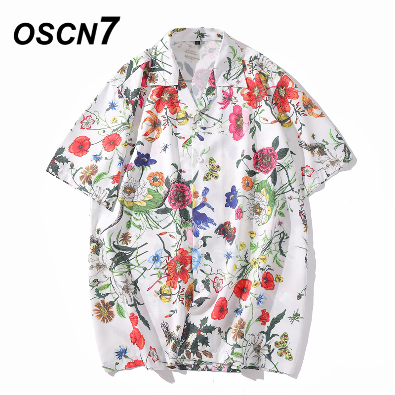 OSCN7 Casual Printed Short Sleeve Shirt Men Street 2020 Hawaii Beach Oversize Women Fashion Harujuku Shirts For Men XQ60