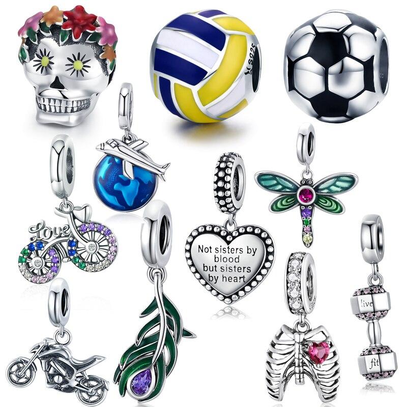 Offre Spéciale 100% 925 argent sterling breloque coeur perle fleur pendentif idéal pour bracelet et collier faisant des femmes bijoux fins accessoires