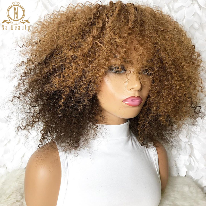 13x6 Lace Front Afro Kinky Curly Wig Honey Blonde 99J Red Black Wigs Pre Plucked Ombre Color Human Hair Wigs Remy Nabeauty 150%