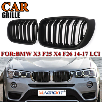 MagicKit 1Pair for BMW X3 F25 F26 2014 2015 2016 2017 Front Kidney Grill Grille Matte Black Dual Slat Replacement Racing Grills
