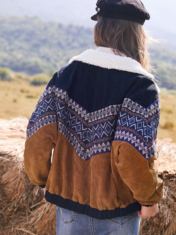 ZAFUL куртка пальто для женщин теплая винтажная верхняя одежда осень зима двубортный этнический принт Искусственная овчина панель Вельветов...