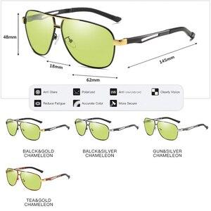 Image 4 - للجنسين الألومنيوم المغنيسيوم HD اللونية الاستقطاب النظارات الشمسية الرجال الأصفر يوم ليلة القيادة الذكور Oculos مكافحة وهج نظارات Gafas