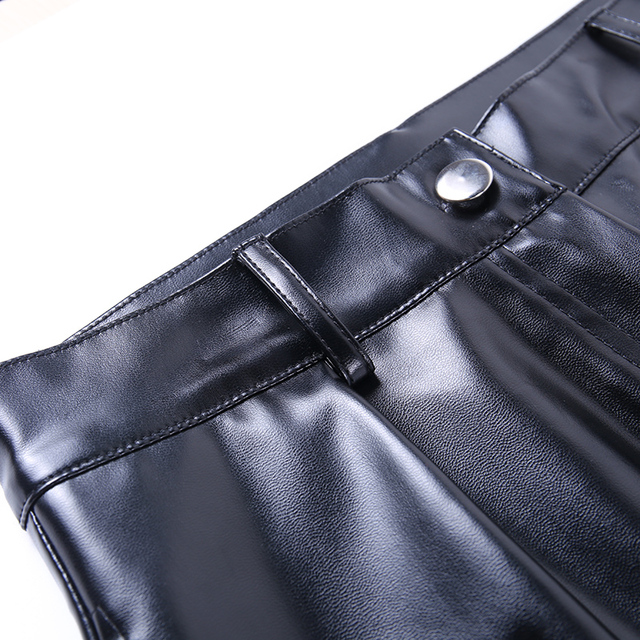 Faux Leather Pants with knee Bandage in black