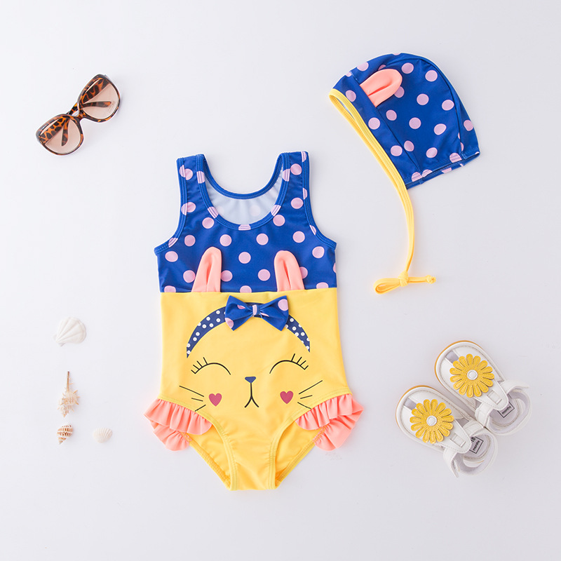 Girl'S One-piece Swimming Suit Blue And Yellow Mixed Colors Cat Hooded-Children Hot Springs Bathing Suit