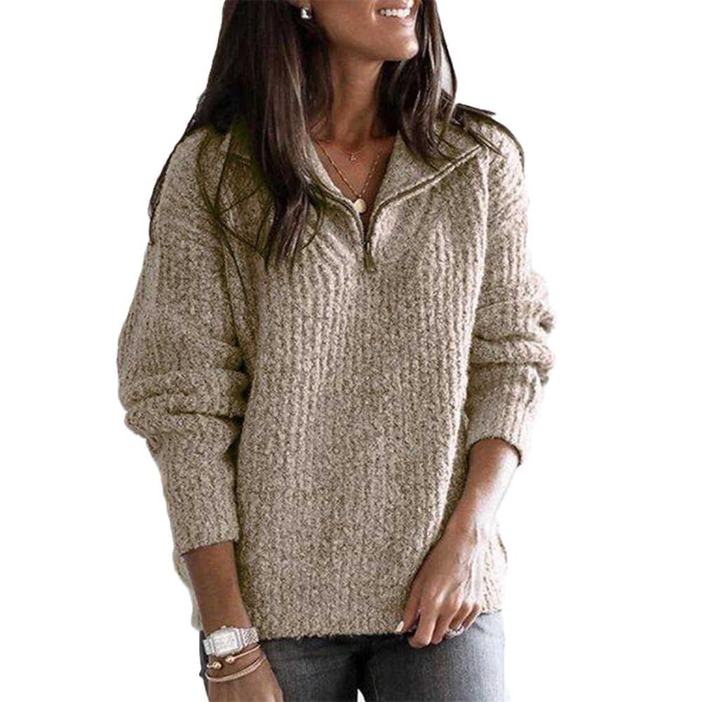 Pull décontracté femmes automne hiver chandails chaud à manches longues col montant pull à fermeture éclair tricot chandail dames chandails