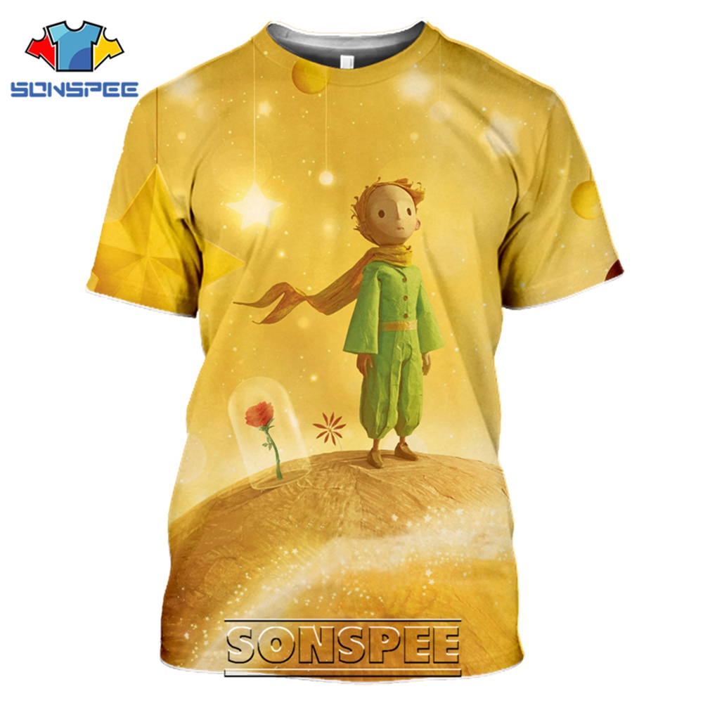 SONSPEE T-shirts The Little Prince 3D Print Men Women Funny Casual Hip Hop Streetwear Cartoon Movie Rose Tees Tops Shirt