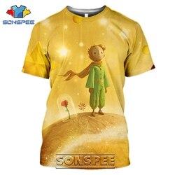 SONSPEE t-shirty mały książę 3D drukuj mężczyźni kobiety śmieszne Casual hiphopowy sweter Cartoon Movie Rose Tees topy Shirt