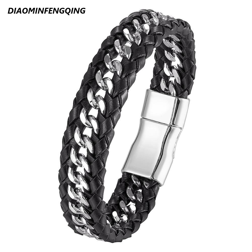 2020 Men s Bracelets and Bangles Men s Gifts Black Woven Leather Bracelets Bracelets with Magnetic