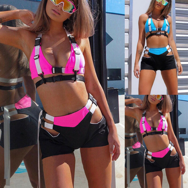 Fashion Short And Cropped Set Festival Clothing Rave Festival Outfit Sexy Two Piece Set Summer 2pcs Sexy StreetwearOutfits 2020