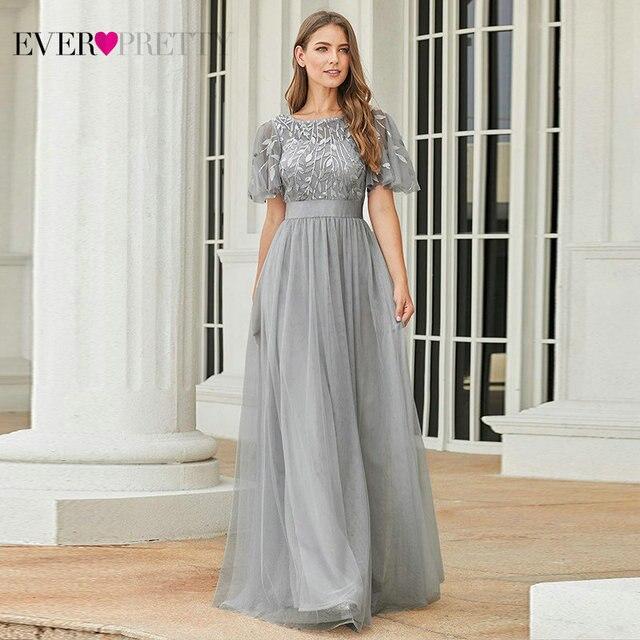 Robe De Soiree Sparkle Evening Dresses Long Ever Pretty EP00904GY A-Line O-Neck Short Sleeve Formal Dresses Women Elegant Gowns 1
