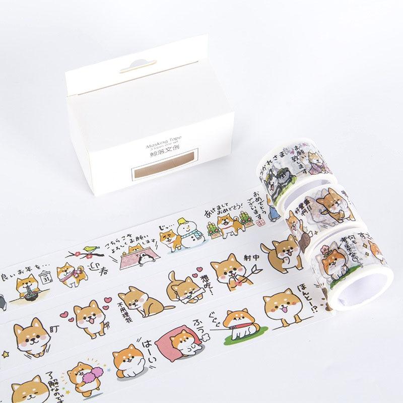 3 Pcs/pack Shiba Dog Bullet Journal Washi Tape Cute Adhesive Tape DIY Scrapbooking Stickers Stationery Label Masking Tapes